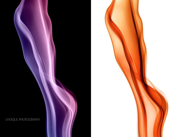 Two Smoke Pictures - Purple on black and Orange on White background | Smoke Photography Tutorial
