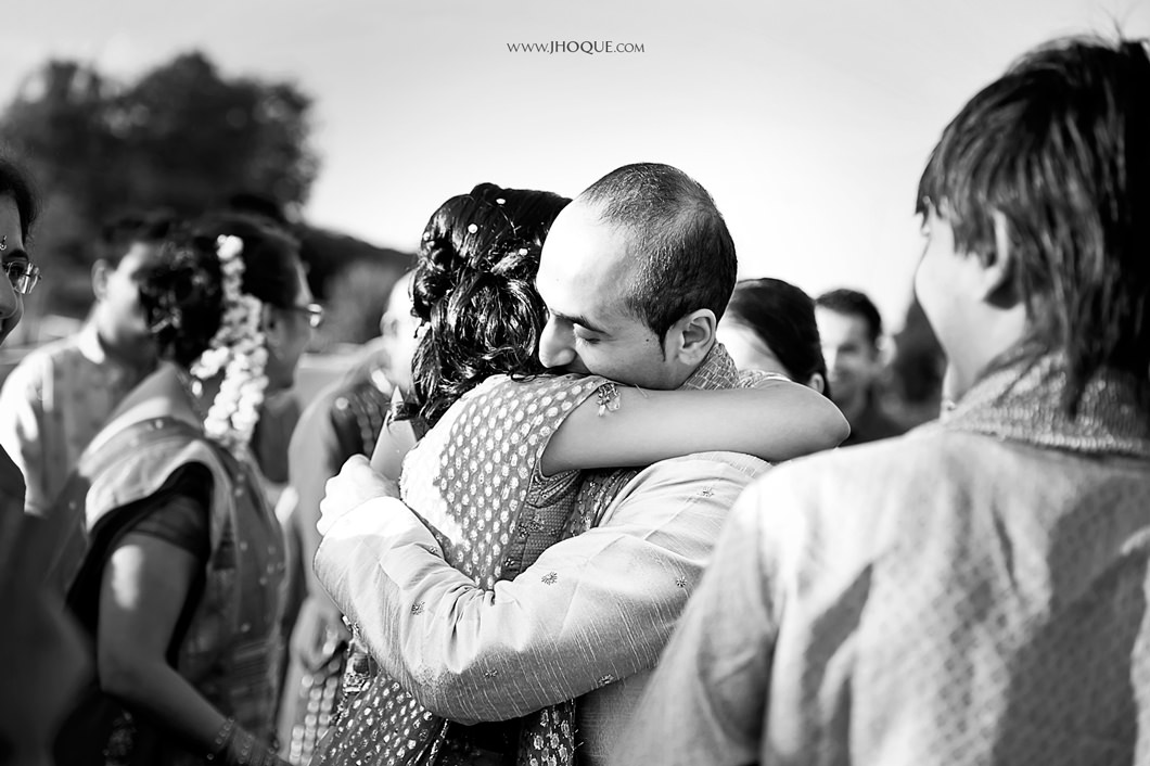 Groom hugs bride | Saanji | Sanjay Gohil | Indian Wedding Photography London | PKSG-0191-BW