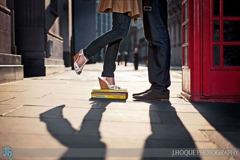 Bride standing on yellow pages by red phone box | London Wedding Photography | Pre Wedding in the City | 0041