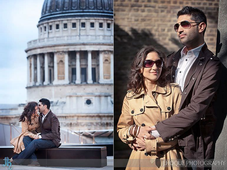 View of St Pauls from One New Change roof | London Asian Wedding Photography | Pre Wedding Shoot in St Pauls | 0061-0011