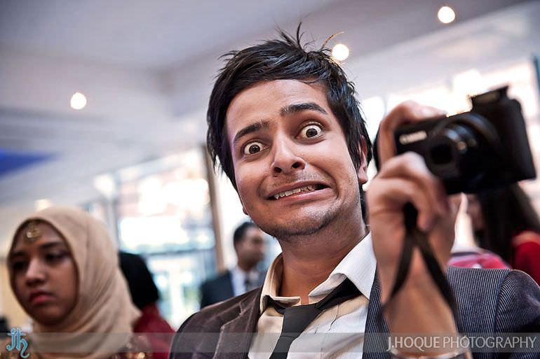 Shahed Hussain from Shot by Shahed, getting up to his usual pranks - Baylis House Asian wedding