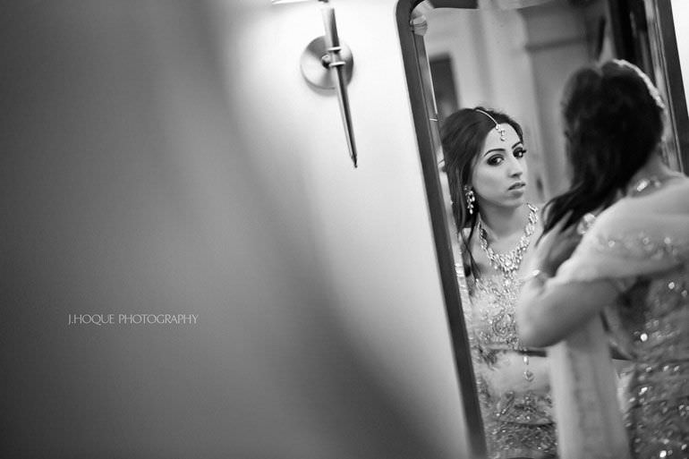 Bride getting ready at Hendon Hall Hotel | Asian Documentary Wedding Photographer London | 010-BW