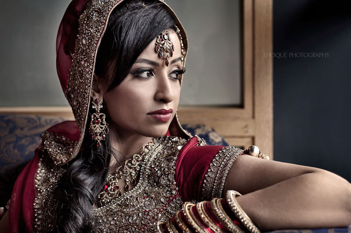 Bengali bride portrait by window | Muslim Wedding Photography Slough