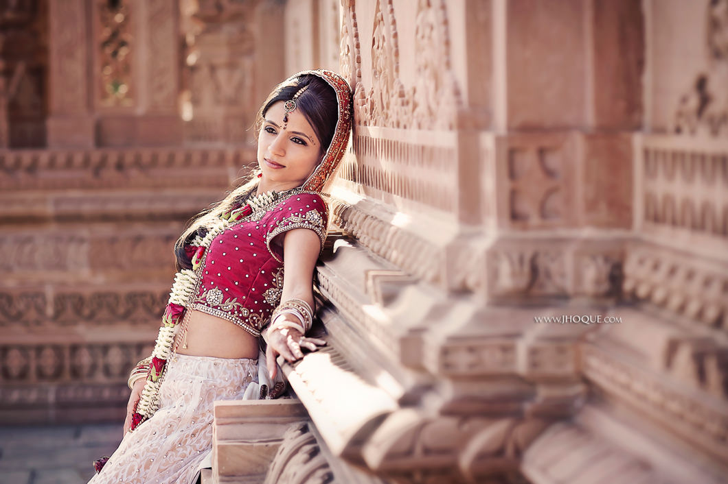 Bride portrait - Asian wedding at Oshwal Centre Hertfordshire