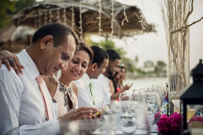 Wedding breakfast on Blue Waters beach - Caribbean Destination Wedding Antigua | CIV-0851
