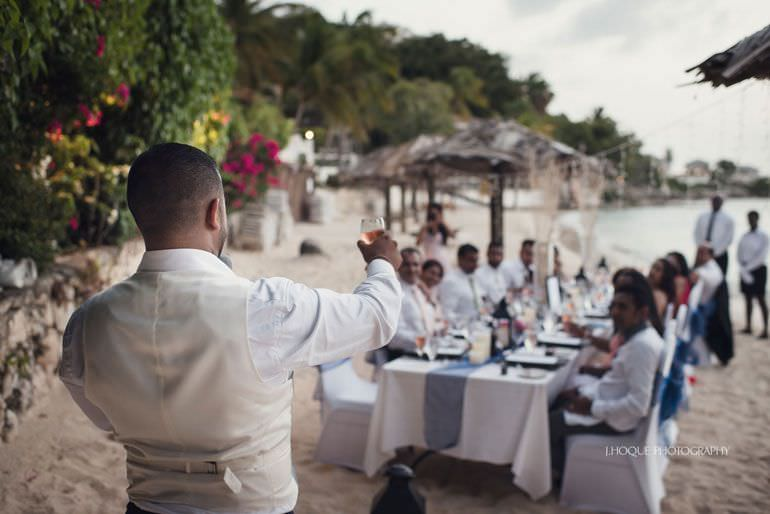 Wedding breakfast on Blue Waters beach - Caribbean Destination Wedding Antigua | CIV-0886