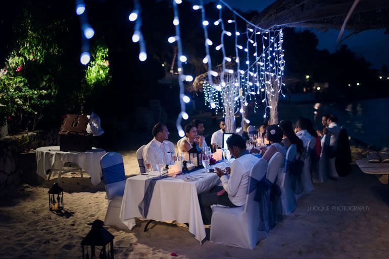 Wedding breakfast on Blue Waters beach at night - Caribbean Destination Wedding Antigua | CIV-0954