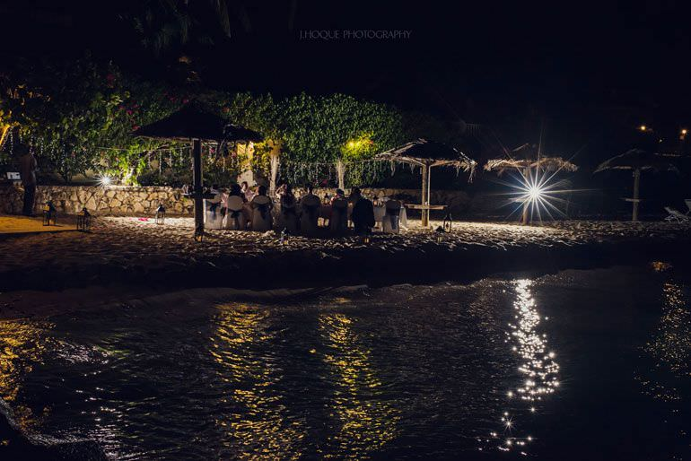 Wedding breakfast on Blue Waters beach at night - Caribbean Destination Wedding Antigua | CIV-0961