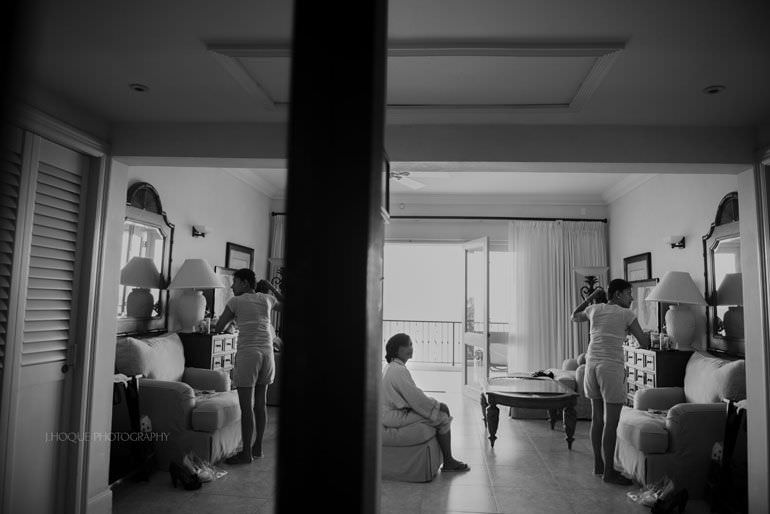 Bride getting ready in Cove Suites Blue Waters Resort Antigua | CIV-0039