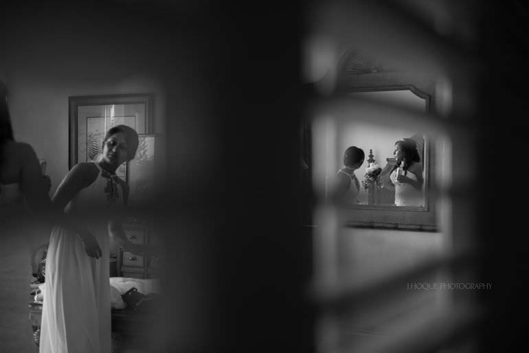 Bride getting ready in Cove Suites Blue Waters Resort Antigua | CIV-0283