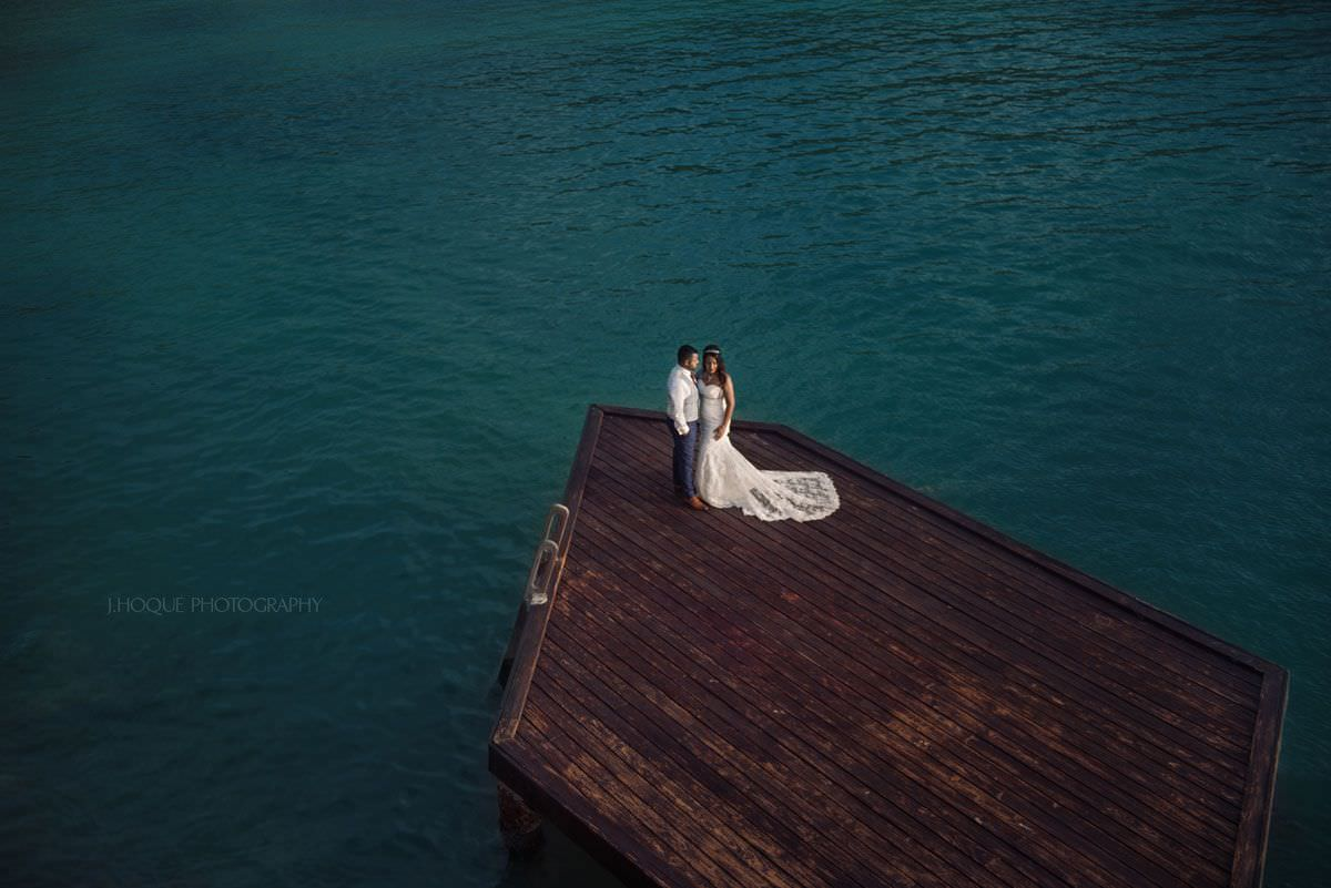 Bride and groom portrait at Rock Cottage Antigua   Indian Destination Wedding Photography