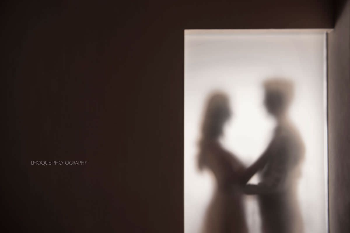 Silhouette in hotel room | Destination Pre Wedding Prague