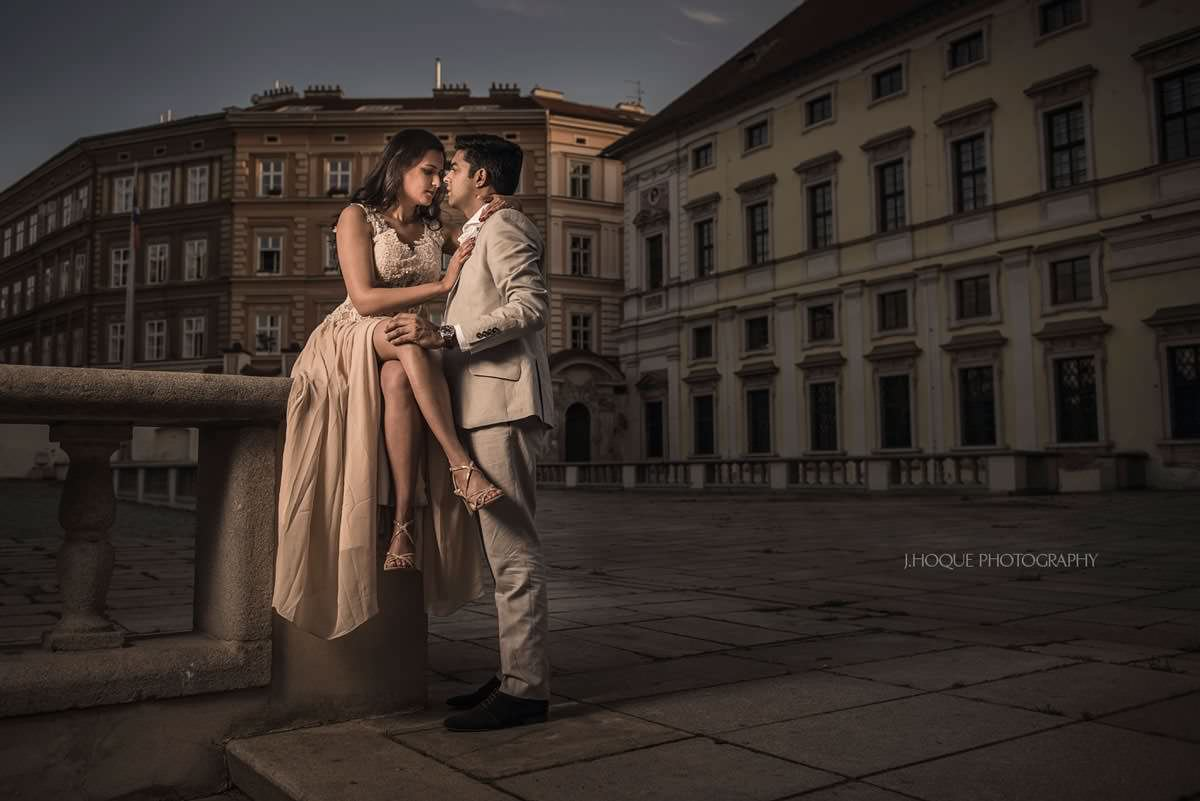 Couple portrait in Prague using Profoto B1 | Destination Wedding Photography
