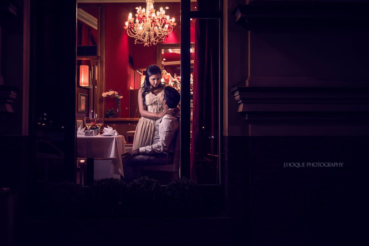 Couple at hotel bar | Prague Engagement Shoot | Asian Destination Wedding Photographer