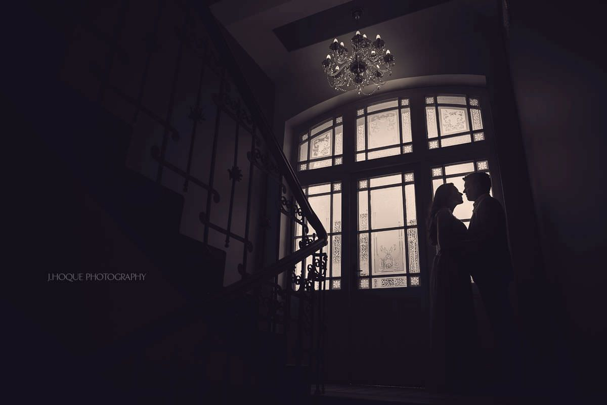 Silhouette by staircase window | Asian Destination Wedding Photography | Prague Pre Wedding