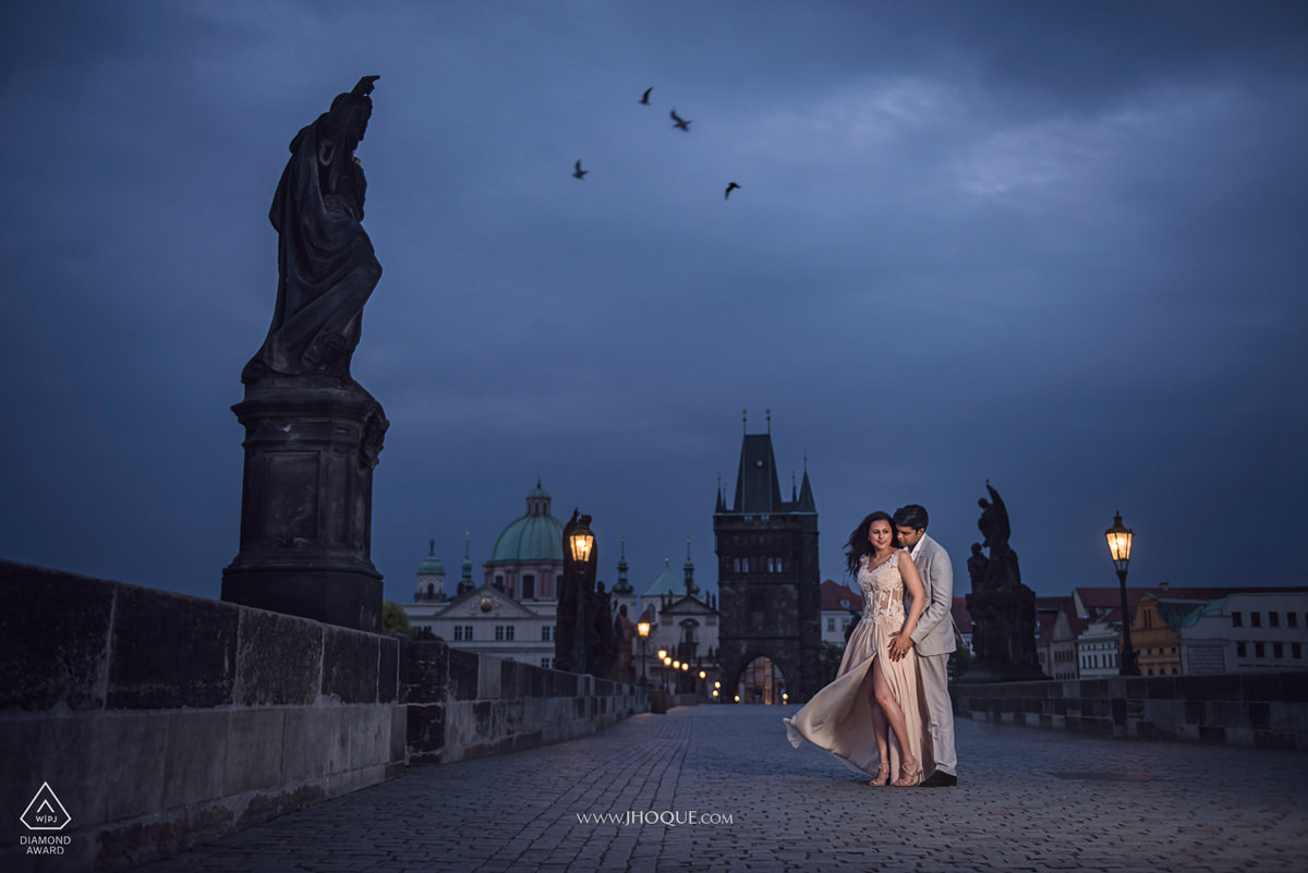 Couple portrait on Charles Bridge at 4am | Profoto B1 | Prague Destination Pre Wedding Shoot