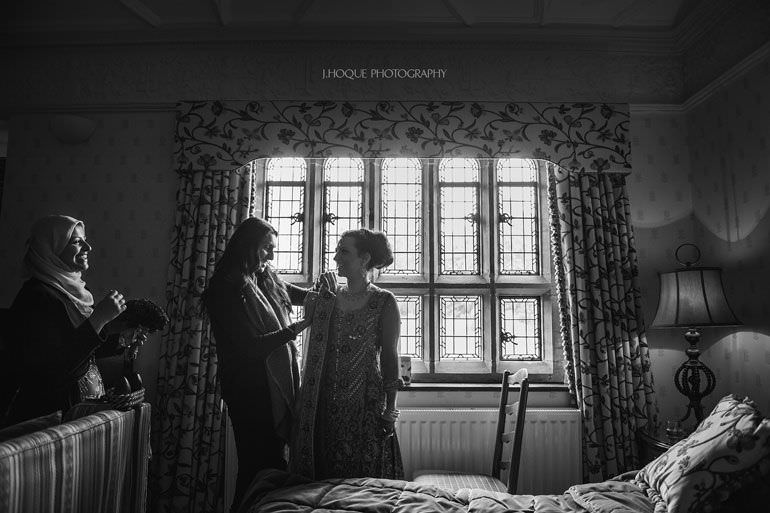 Bride getting ready   Asian Wedding at Hever Castle   Kent Wedding Photographer   0043-BW