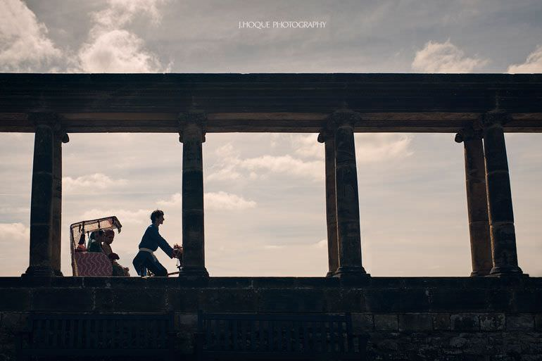 Muslim couple on Rickshaw at The Loggia | Hever Castle Asian Documentary Wedding Photography Kent | 0180