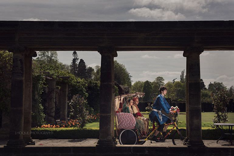 Muslim couple on Rickshaw at The Loggia | Profoto B1 | Hever Castle Asian Documentary Wedding Photography Kent | 0183