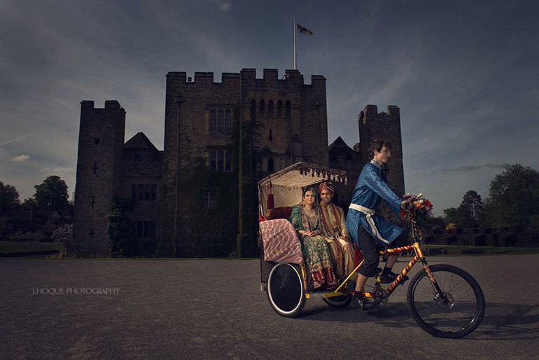Muslim couple on Rickshaw | Profoto B1 | Hever Castle Asian Documentary Wedding Photography Kent | 0207