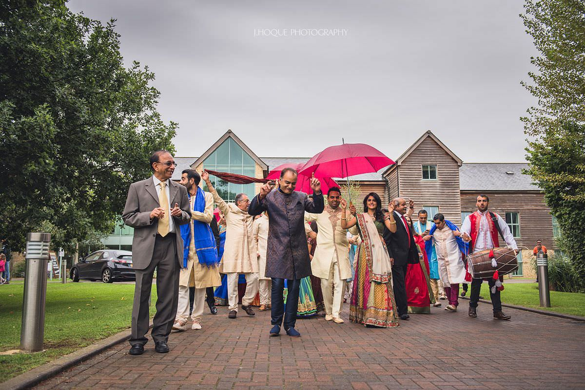 Baraat arriving at Indian wedding | Cotswold Four Pillars Hotel Gloucestershire