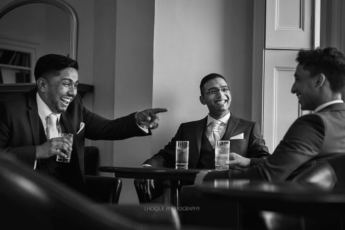 Tamil Groom & groomsmen having a drink | Pembroke Lodge Wedding Photographer Richmond Surrey | 02