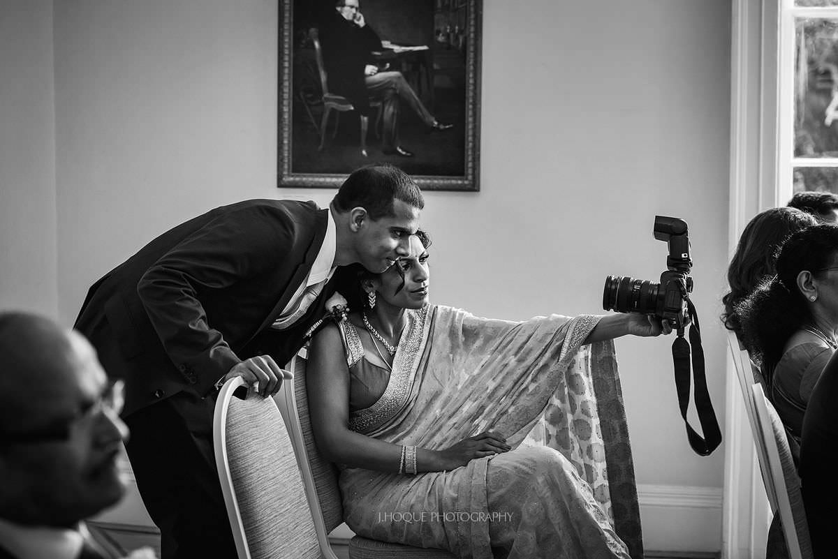 Taking a selfie with a DSLR | Pembroke Lodge Tamil Wedding Surrey | 17
