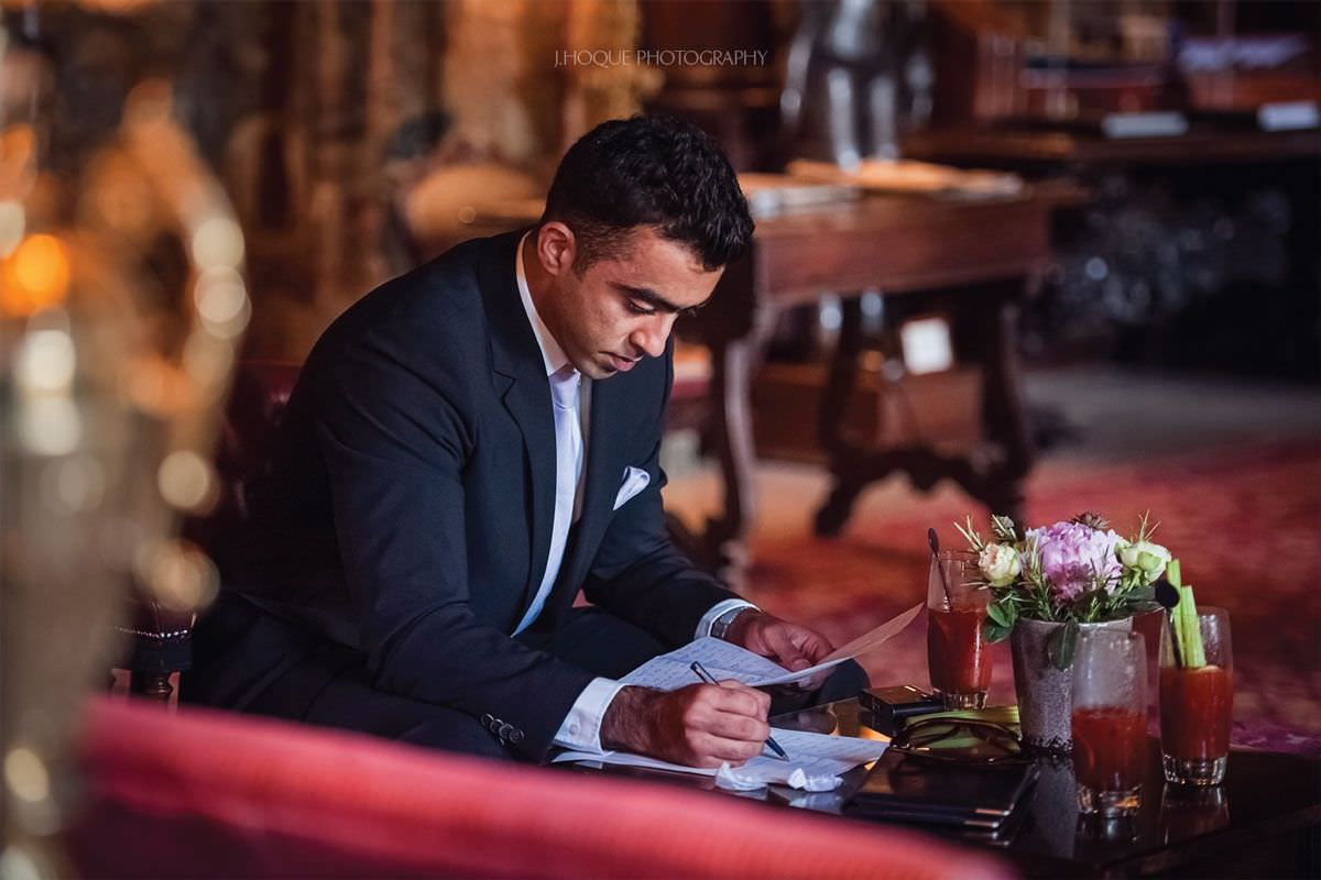 Best man writing speech in a hurry | Documentary Wedding Photographer at Cliveden House | Berkshire Indian Wedding Photographer | 04
