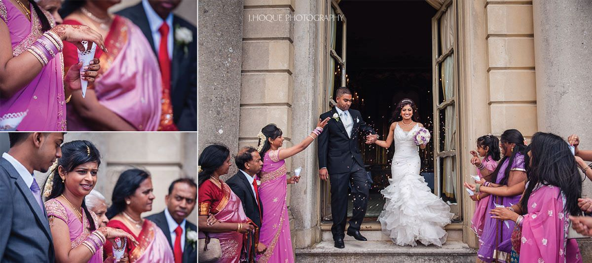Guests throwing confetti | Luxury Asian Wedding Photography at Cliveden House Hotel | Berkshire Wedding Photographer | 12