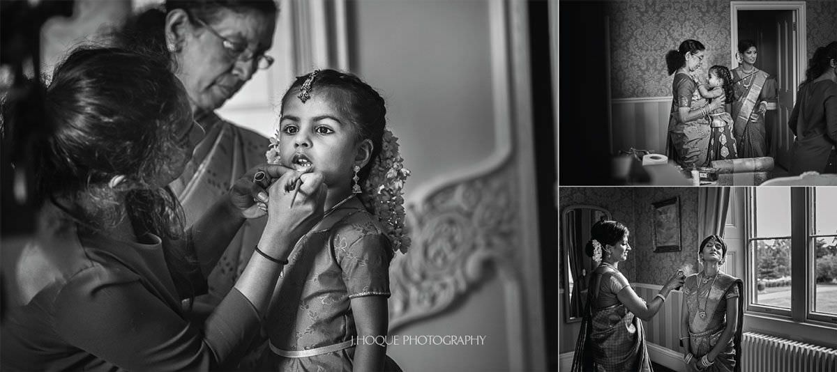 Brides nice getting lipstick on | Shendish Manor Hindu Wedding | Hertfordshire Tamil Wedding Photography | BW-09
