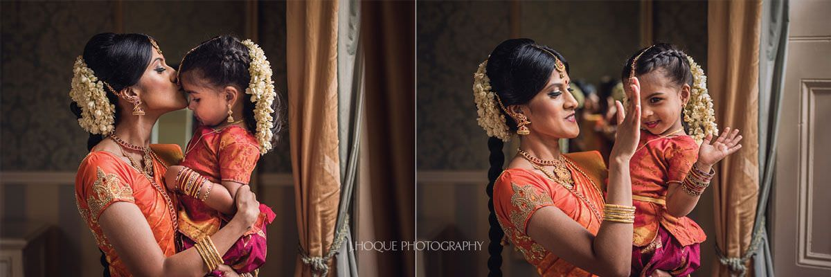Tender moment between bride and niece | Shendish Manor Tamil Wedding Photography Hertfordshire | 11