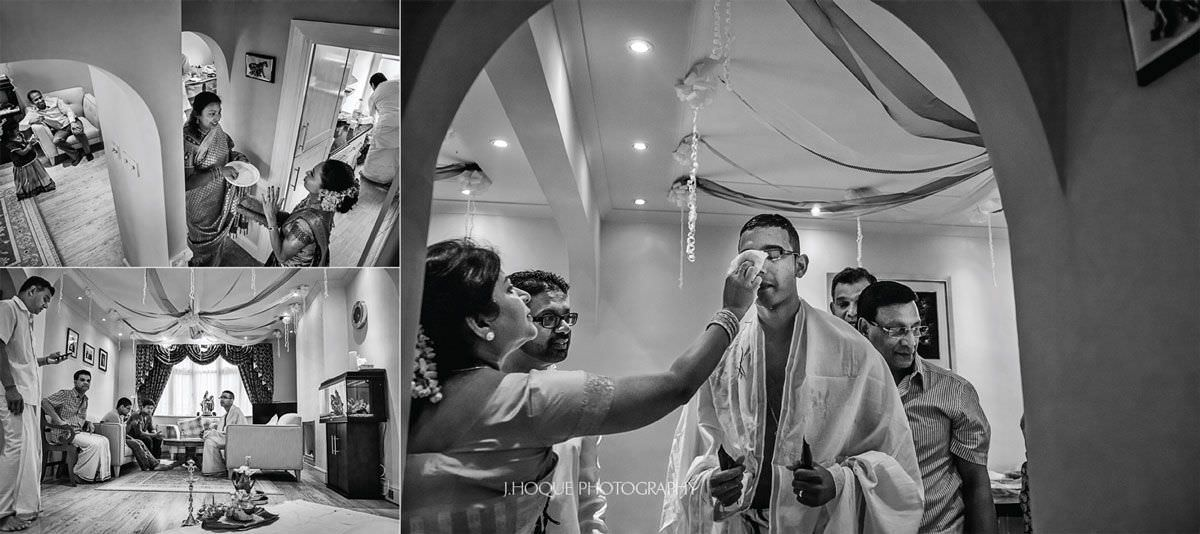 Groom getting ready at home | Sri Lankan Tamil Wedding Rituals | Hertfordshire Wedding Photography | BW-13