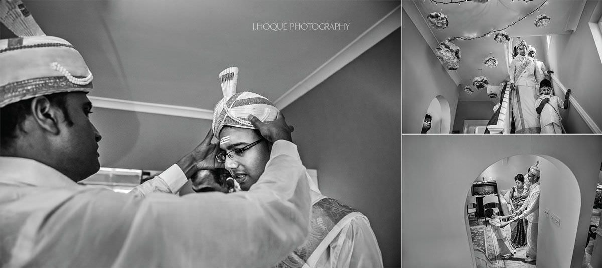 Groom putting turban on | Sri Lankan Hindu Wedding Hertfordshire | BW-15