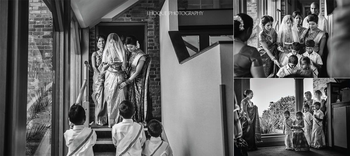 Brides entrance | Shendish Manor Asian Wedding | Hertfordshire Tamil Documentary Wedding Photography | BW-19