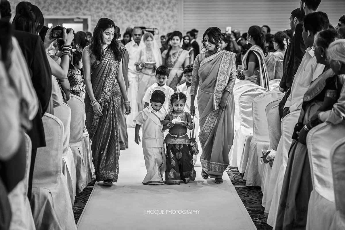 Flower girls entrance | Tamil Documentary Wedding Photographer Hertfordshire | BW-20