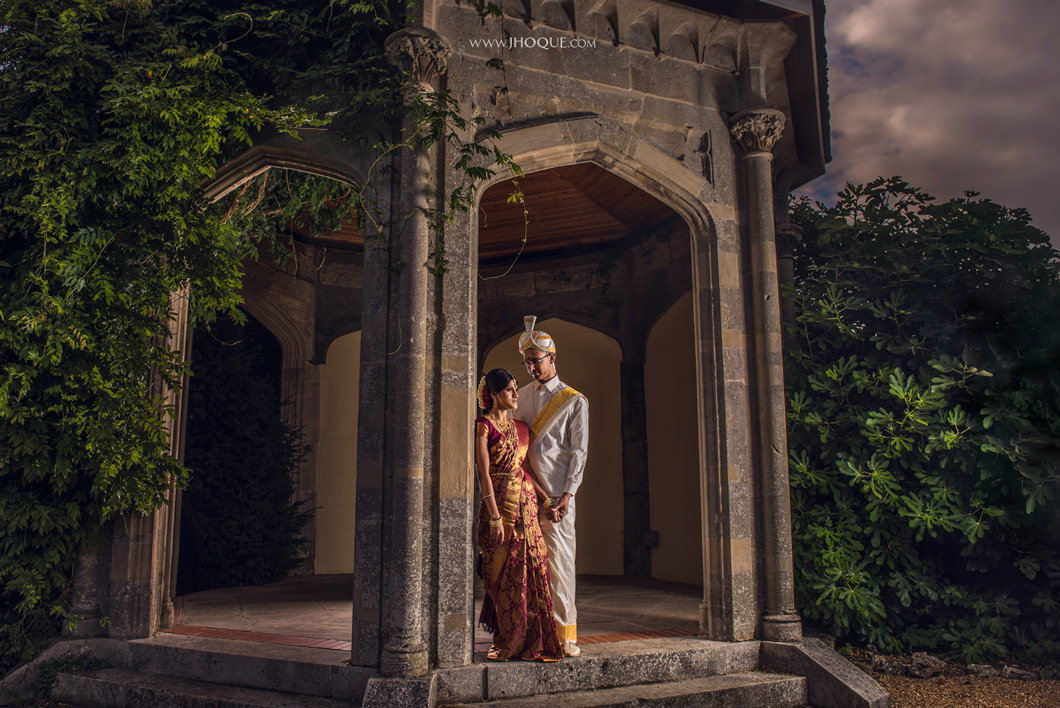 Wedding Portrait in Shendish Manor Gazebo | Tamil Wedding Photographer Hertfordshire