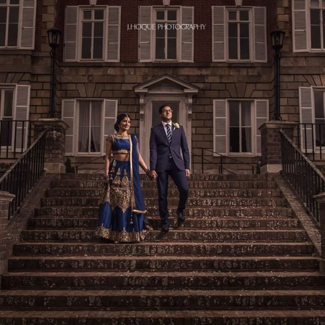 Tamil Bride and groom portrait on stairs | Lit with Profoto B1 | York House Wedding London
