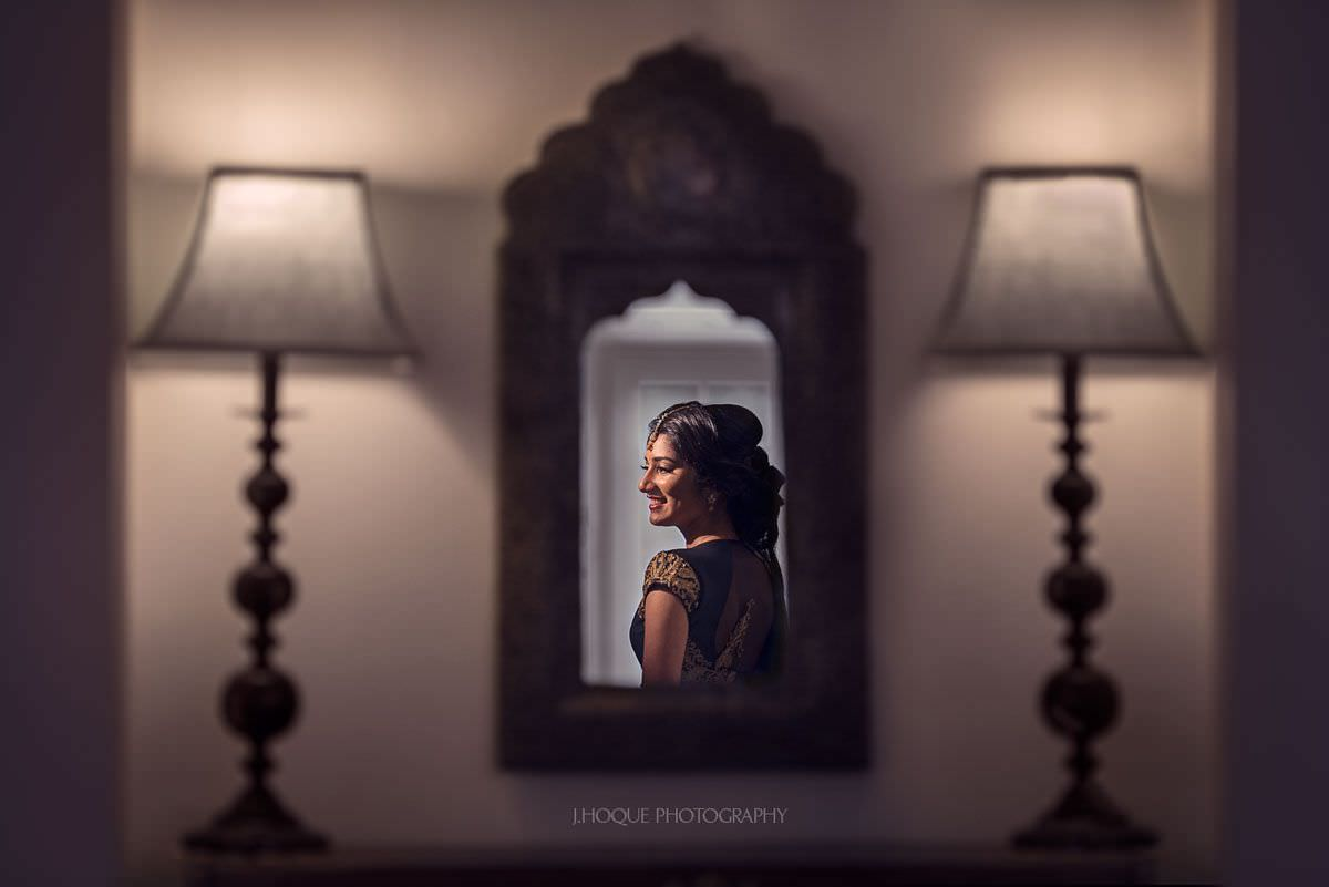 Brides reflection in mirror | Tamil Hindu Wedding Photography London