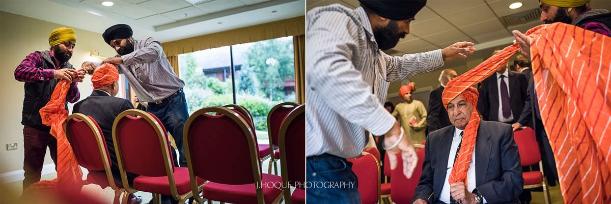 Guests having their pagg (Turban) tied | Panjabi Hindu Wedding Photography Cheshire | 01