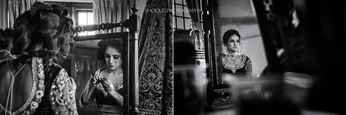 Reflection of Indian bride getting ready | Luxury Hindu Wedding at Thornton Manor Cheshire | 23