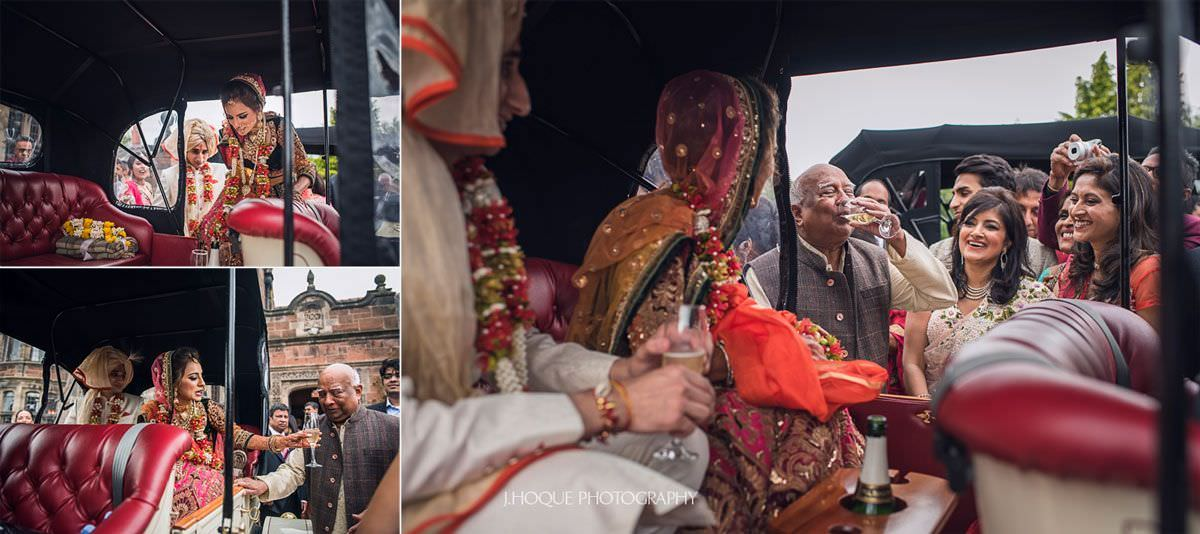 Brides granddad drinks her champagne during sendoff | Thornton Manor Luxury Hindu Wedding | 44