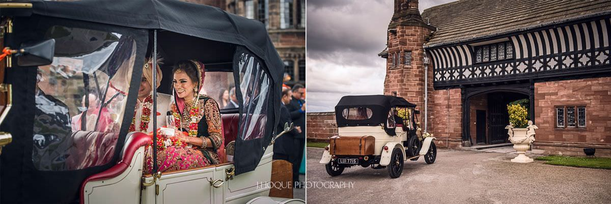 Indian bride and groom leave in classic car | Thornton Manor Luxury Hindu Wedding | 48