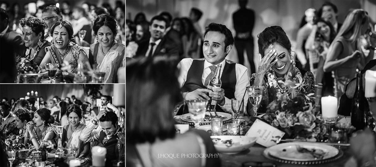 Bride and guest laughing during speech | Luxury Indian Wedding Photographer Cheshire | 62