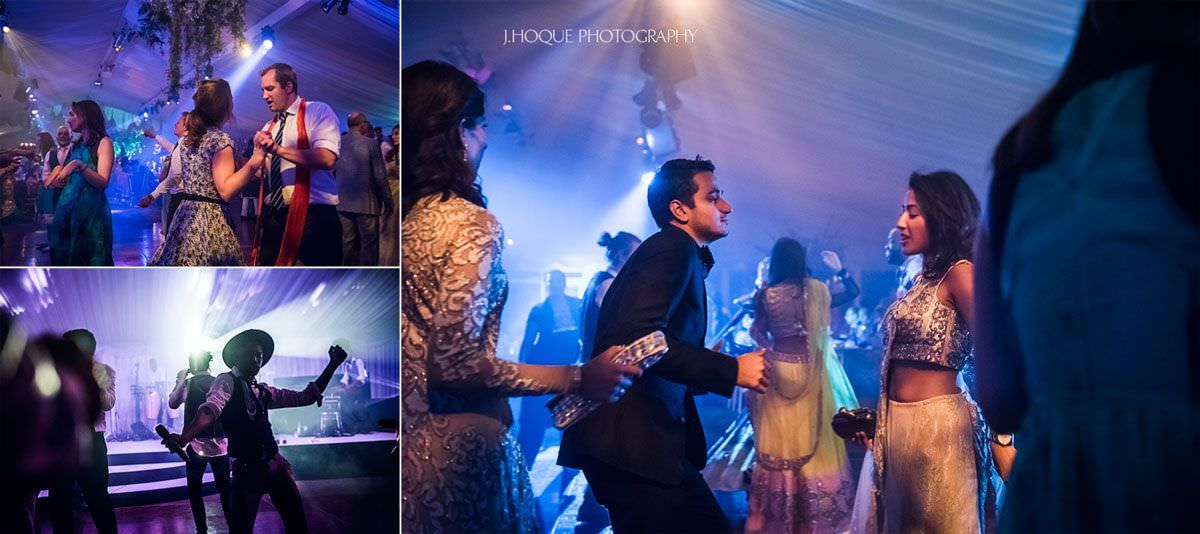Guests dancing at Indian wedding reception at Thornton Manor | 76