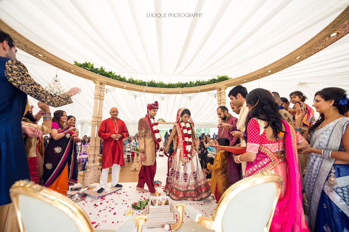 Bride leading Mangal Phera | Hindu Wedding Photography Boreham House Essex