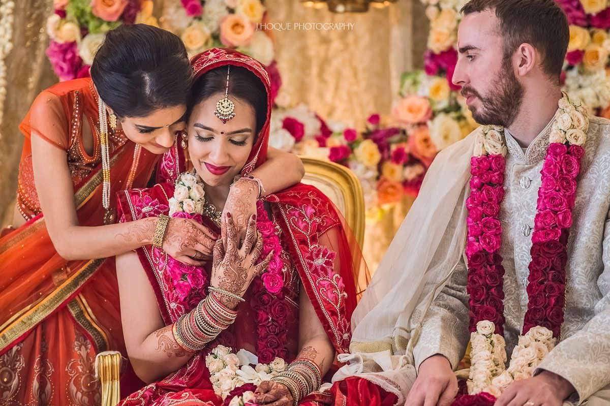 Brides sister giving her blessings   Indian English Fusion Wedding London