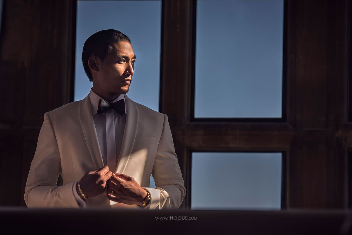 Stylish Groom Portrait | Vietnamese Indian Fusion Wedding at Stapleford Park