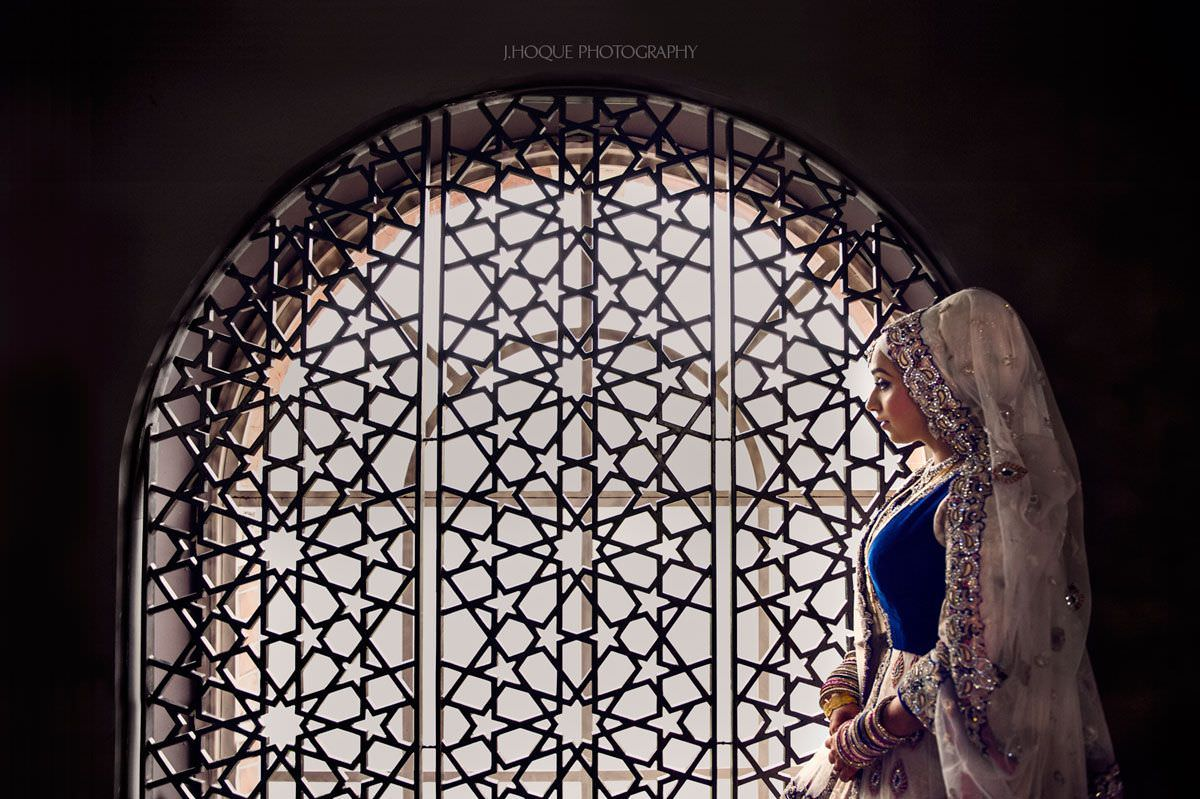 Bengali Bride Portrait by window | Muslim Wedding Photography London