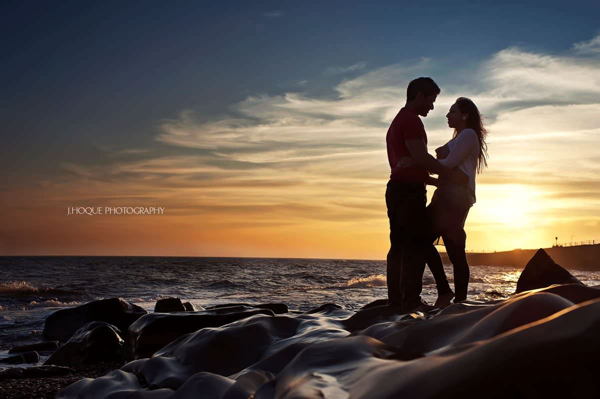 Sunset at Hastings Beach Pre Wed Shoot | Asian Wedding Photography Sussex
