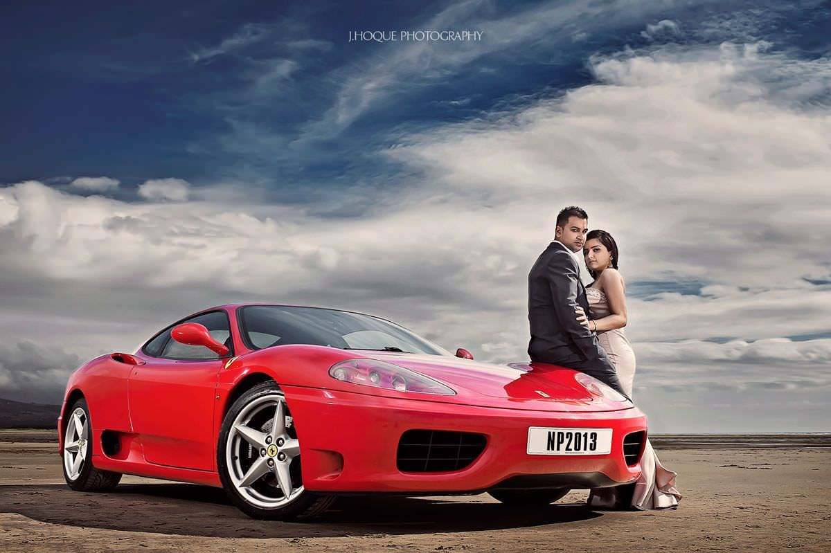 Ferrari on the beach | Luxury Indian Wedding Photography